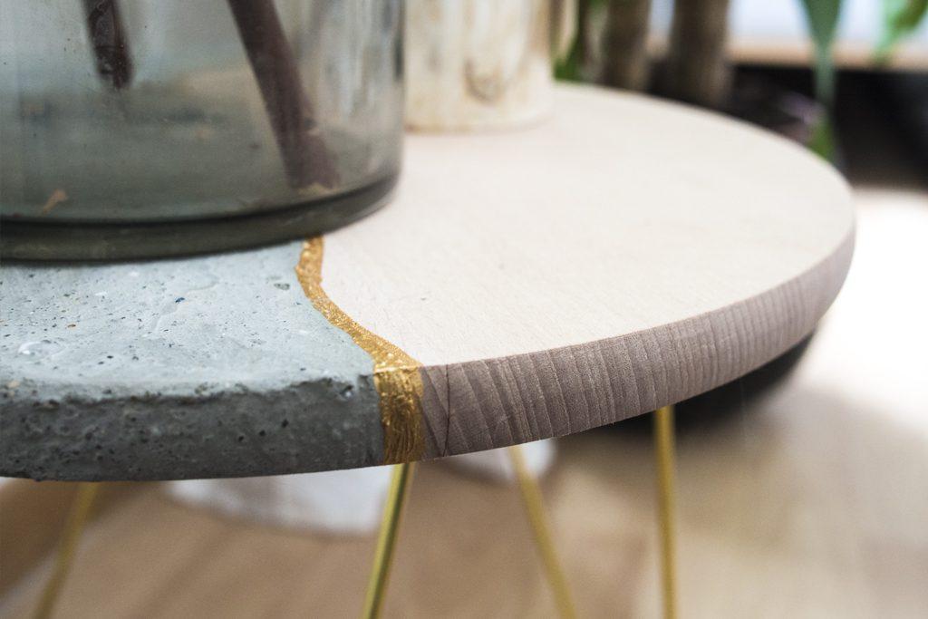 Détail table, peinture style Kintsugi