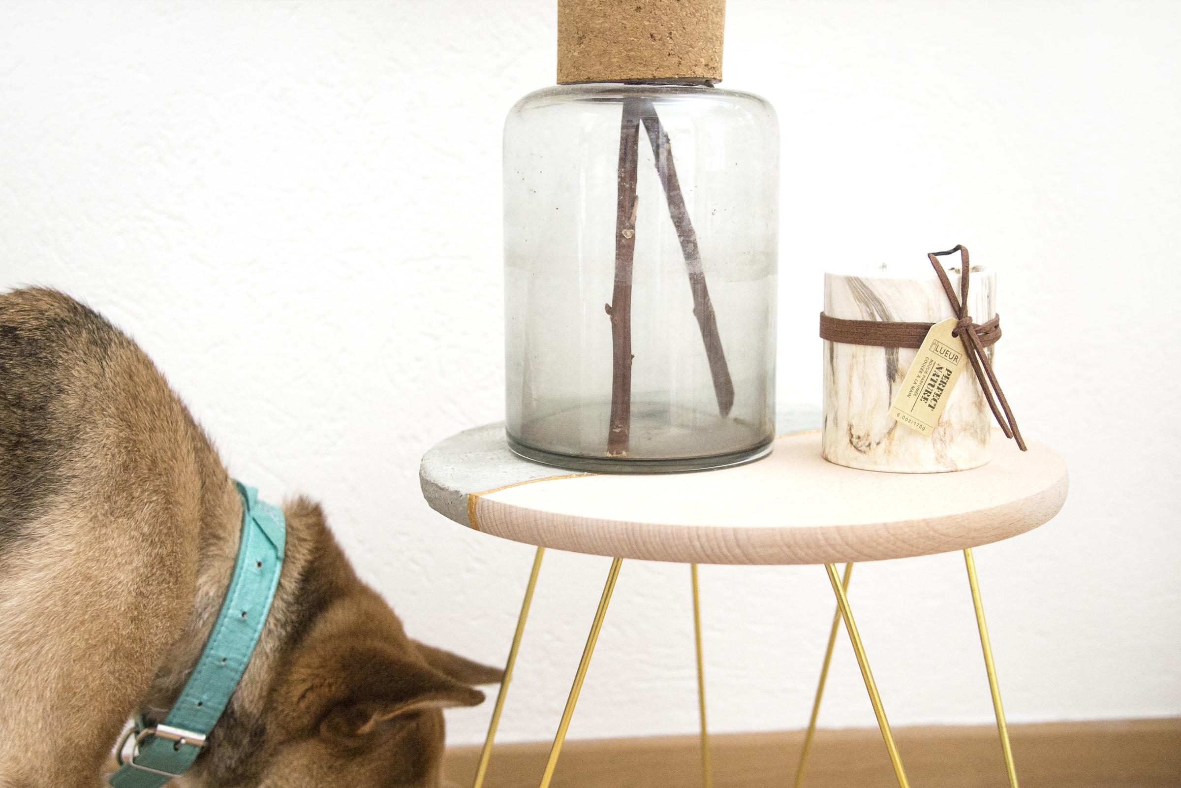 DIY: Table basse ou d'appoint en bois et béton inspiration Kintsugi