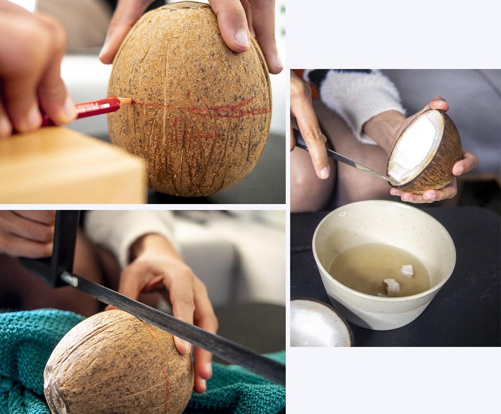 Sciez la noix de coco