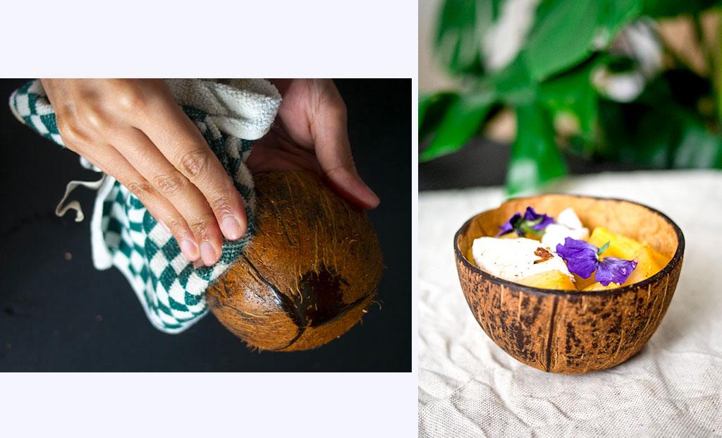 Huiler les bols en noix de coco